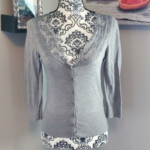 WHBM lace collar cardigan